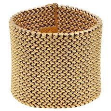 A Vintage Wide 18ct Gold Flexible Mesh Bracelet