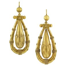 A Pair Of Victorian Etruscan Revival Gold Drop Earrings