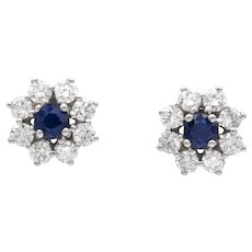 A Pair Of Sapphire And Diamond Cluster Stud Earrings