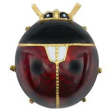 A Guilloché Enamel Ladybird Brooch