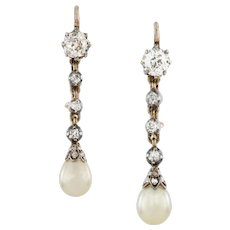 A Pair Of Natural Pearl And Diamond Drop Earrings