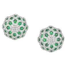 A Pair Of Diamond And Emerald Dome Earrings