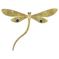 A Gold Gem-set Dragonfly Brooch By Benltey & Skinner