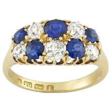 A Late Victorian Double-row Sapphire And Diamond Ring