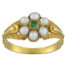 A Late Georgian Pearl And Emerald Ring
