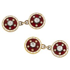 A Pair Of Victorian Diamond And Red Enamel Cufflinks