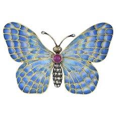 An Austro-hungarian Plique-a-jour Butterfly Brooch