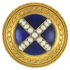 A Victorian Circular Blue Enamel, Pearl And Gold Brooch
