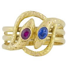 A Russian Gold And Gemset Twin Serpent Ring