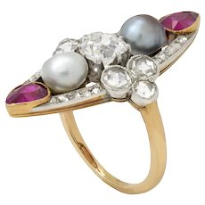 A Belle Epoque Pearl, Ruby And Diamond Ring