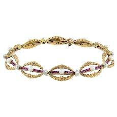 A Belle Époque Ruby, Diamond And Pearl Bracelet