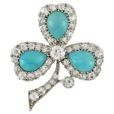 A Late Victorian Turquoise And Diamond Clover Leaf Brooch