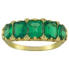 An Important Victorian Five Stone Emerald Ring
