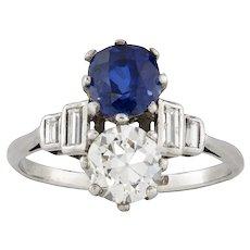 An Art Deco Diamond And Sapphire Ring