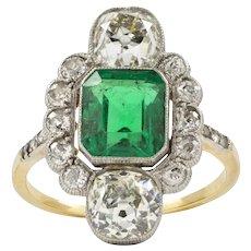 An Art-deco Emerald And Diamond Ring