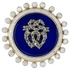 A Victorian Enamel, Pearl And Diamond Brooch