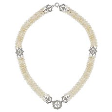 An Early Twentieth Century Pearl And Diamond Necklace