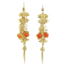 A Pair Of Early Victorian Gold And Coral Leaf Drop Earrings