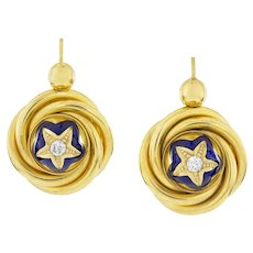 A Pair Of Victorian Gold, Diamond And Enamel Drop Earrings