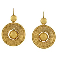A Pair Of Etruscan Revival Gold Drop Earrings