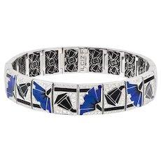 A Blue Poppies Art-deco Style Bracelet By Ilgiz F
