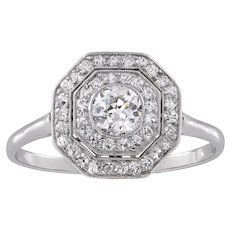 An Art Deco Diamond Double Cluster Ring