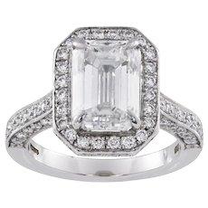 An Emerald-cut Diamond Cluster Ring