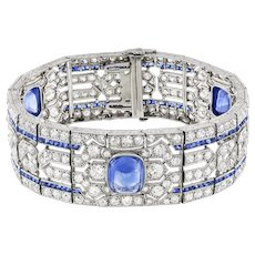 An Important Art Deco Sapphire And Diamond Bracelet By Yard