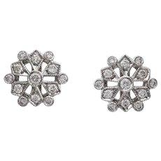 A Pair Of Snowflake Diamond Cluster Earrings