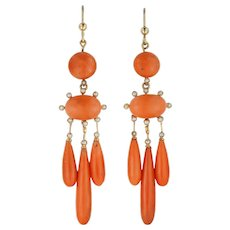A Pair Of Victorian Coral And Pearl Drop Earrings