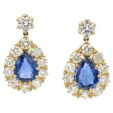 A Pair Of Sapphire And Diamond Drop Earrings