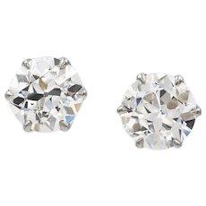 A Vintage Pair Of Old-cut Diamond Stud Earrings