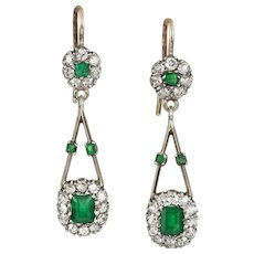 A Pair Of Edwardian Emerald And Diamond Earrings
