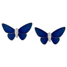 A Pair Of Midnight-blue Butterfly Stud Earrings By Ilgiz F