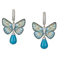 A pair of turquoise butterfly earrings by Ilgiz F