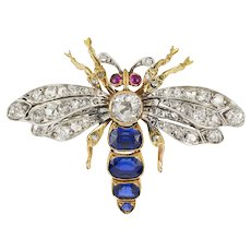 A Victorian Sapphire And Diamond Bee Brooch