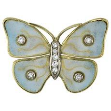 A Diamond And Enamel Butterfly Brooch