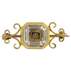 A Stuart Crystal And Gold Brooch