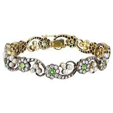 A Turn Of The Century Demantoid Garnet And Diamond Bracelet