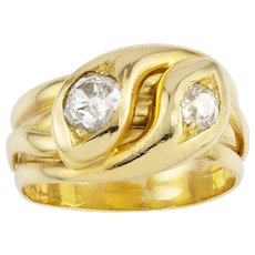 A Late Victorian Diamond Double Snake Gold Ring