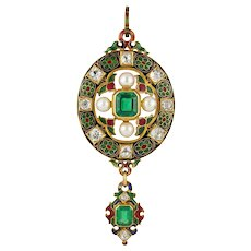 A Victorian Holbeinesque Emerald, Diamond And Pearl Pendant