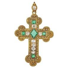 A Victorian Emerald And Diamond Cross Pendant