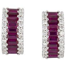 A Pair Of Ruby And Diamond Huggie Earrings