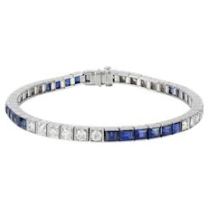 A sapphire and diamond line bracelet by Yard