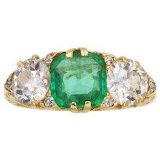 A Victorian Emerald And Diamond Three-stone Ring