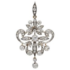 A Late Victorian Diamond Brooch/pendant In A Fitted Box