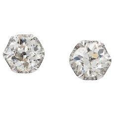 A Pair Of Old-Cut Diamond Stud Earrings
