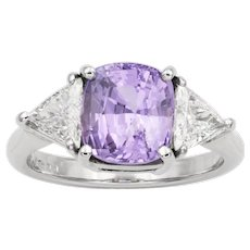 A Lilac Coloured Sapphire And Diamond Ring