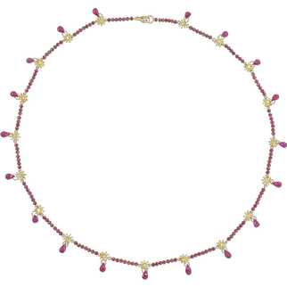 A Hanmade Gold And Garnet Necklace By Lucie Heskett-Brem