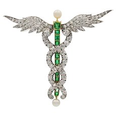 A Victorian Diamond, Emerald And Pearl Caduceus Brooch